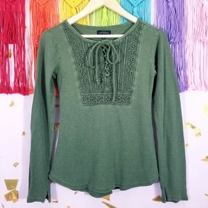 Lucky Brand Thermal Lace Up Henley Top